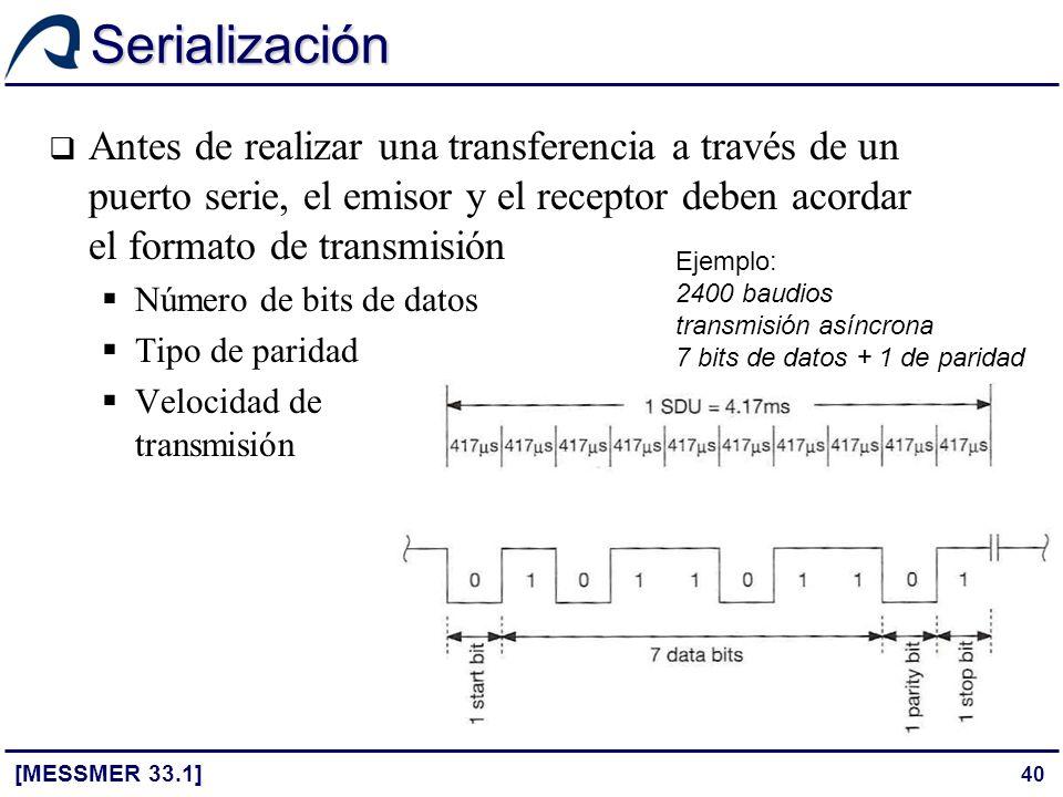 Serialización Antes de realizar una transferencia a través de un puerto serie, el emisor y el receptor deben acordar el formato de transmisión.