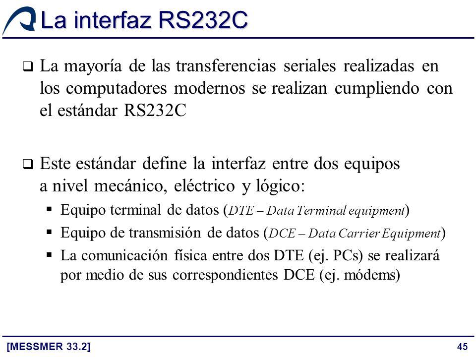 La interfaz RS232C La mayoría de las transferencias seriales realizadas en los computadores modernos se realizan cumpliendo con el estándar RS232C.