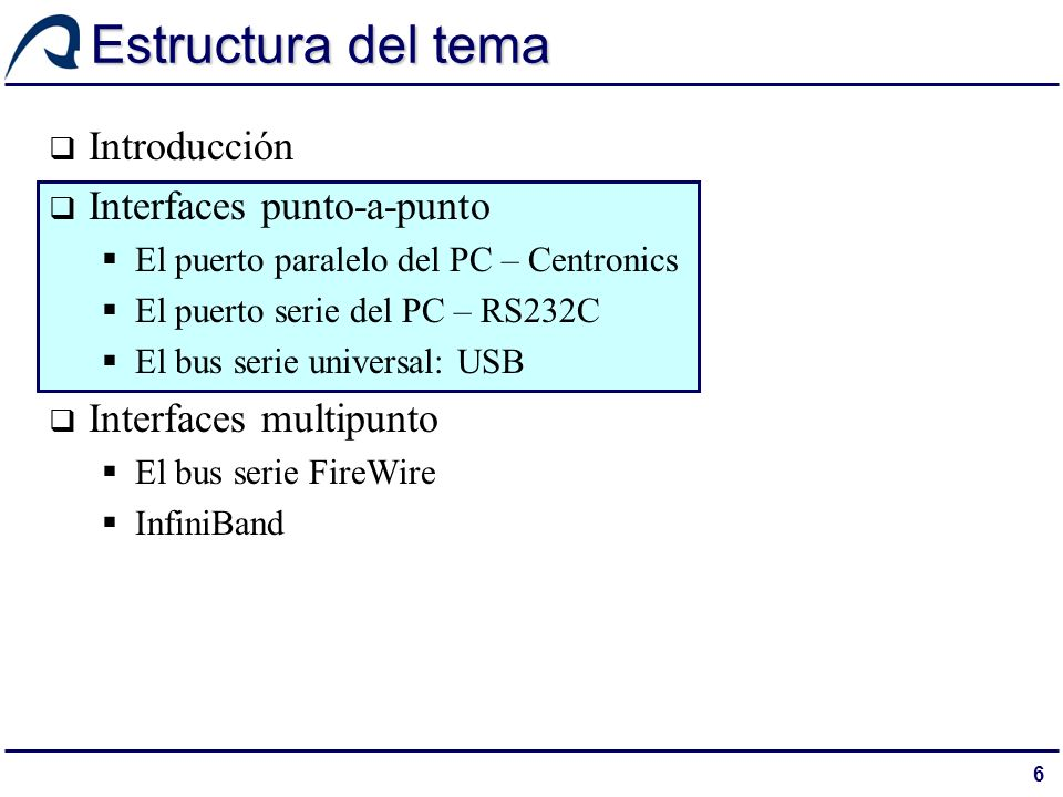 Estructura del tema Introducción Interfaces punto-a-punto