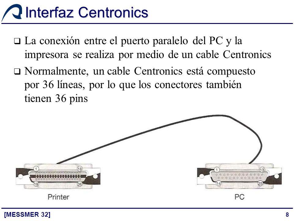Interfaz Centronics La conexión entre el puerto paralelo del PC y la impresora se realiza por medio de un cable Centronics.