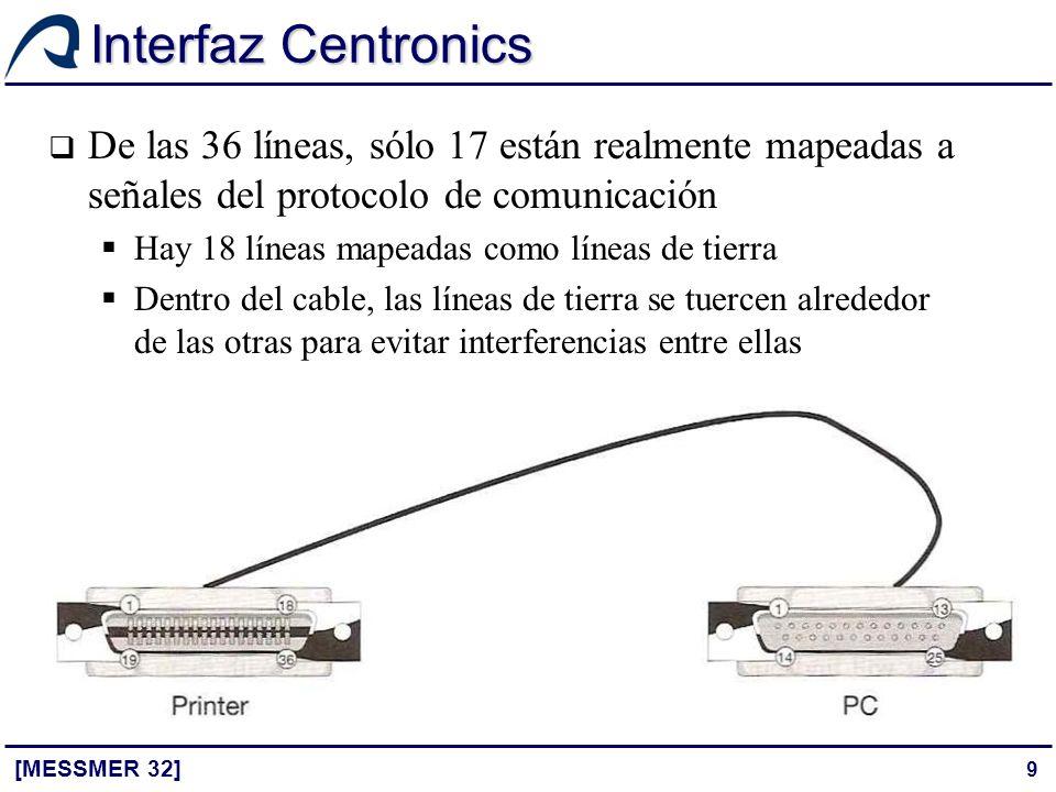 Interfaz Centronics De las 36 líneas, sólo 17 están realmente mapeadas a señales del protocolo de comunicación.
