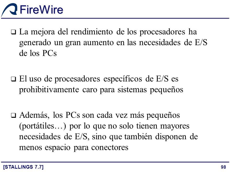 FireWire La mejora del rendimiento de los procesadores ha generado un gran aumento en las necesidades de E/S de los PCs.