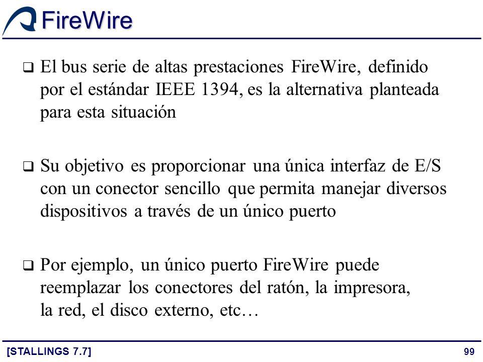 FireWire El bus serie de altas prestaciones FireWire, definido por el estándar IEEE 1394, es la alternativa planteada para esta situación.