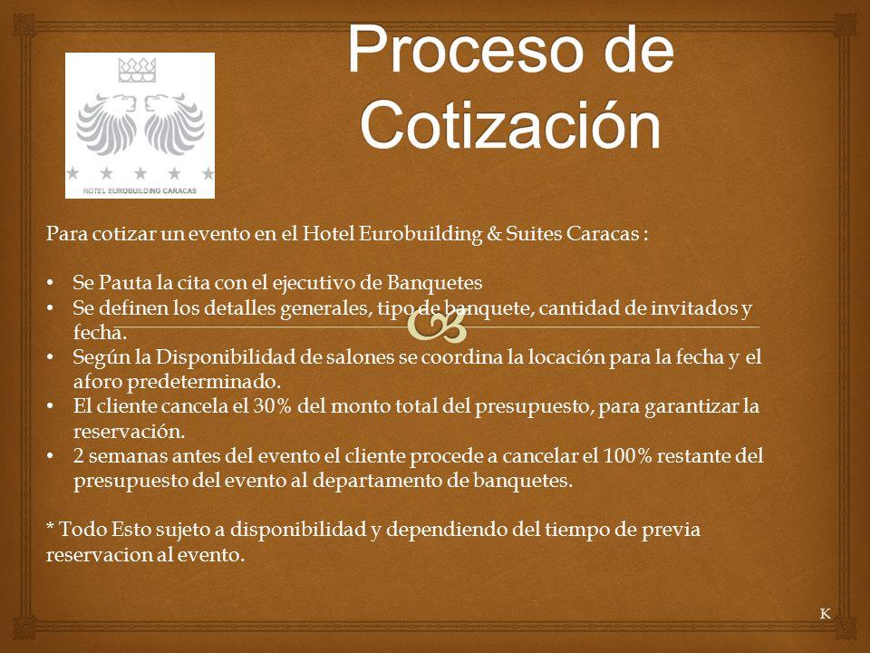 Proceso de Cotización Para cotizar un evento en el Hotel Eurobuilding & Suites Caracas : Se Pauta la cita con el ejecutivo de Banquetes.