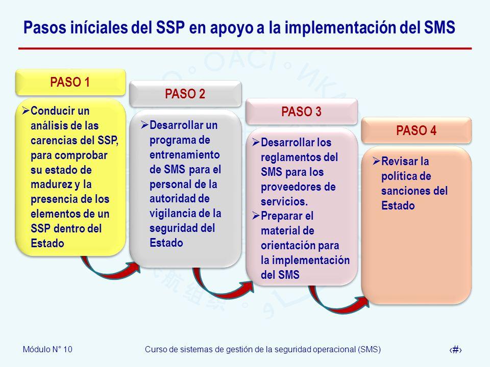 Pasos iníciales del SSP en apoyo a la implementación del SMS