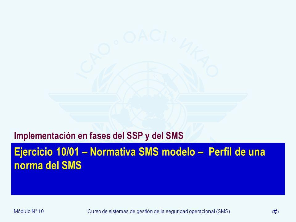 Ejercicio 10/01 – Normativa SMS modelo – Perfil de una norma del SMS