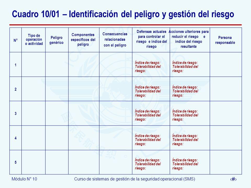 Cuadro 10/01 – Identificación del peligro y gestión del riesgo