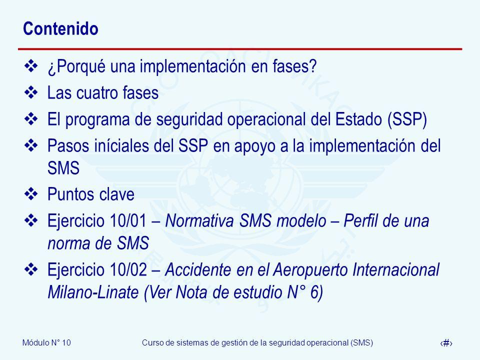 Contenido ¿Porqué una implementación en fases Las cuatro fases. El programa de seguridad operacional del Estado (SSP)