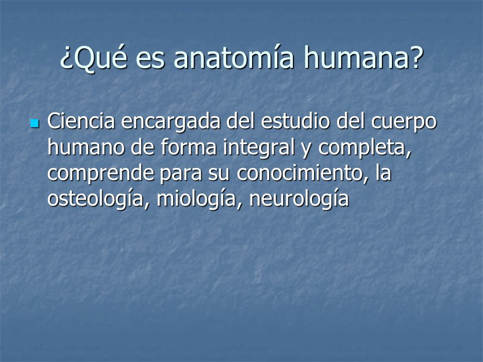 ¿Qué es anatomía humana
