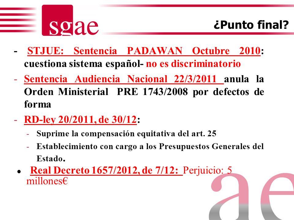 Real Decreto 1657/2012, de 7/12: Perjuicio: 5 millones€