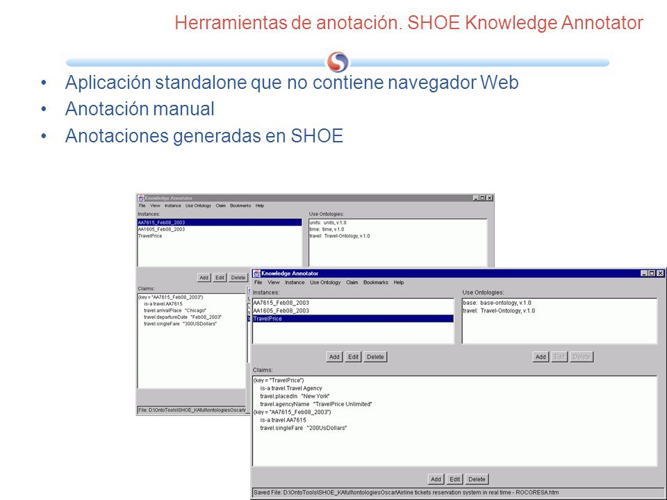 Herramientas de anotación. SHOE Knowledge Annotator