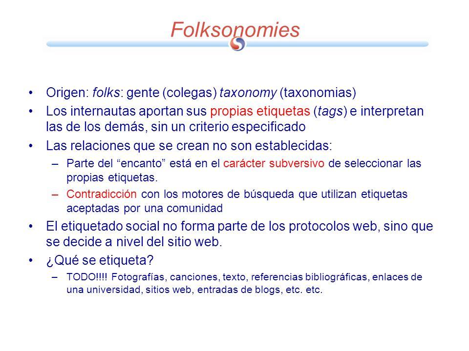 Folksonomies Origen: folks: gente (colegas) taxonomy (taxonomias)