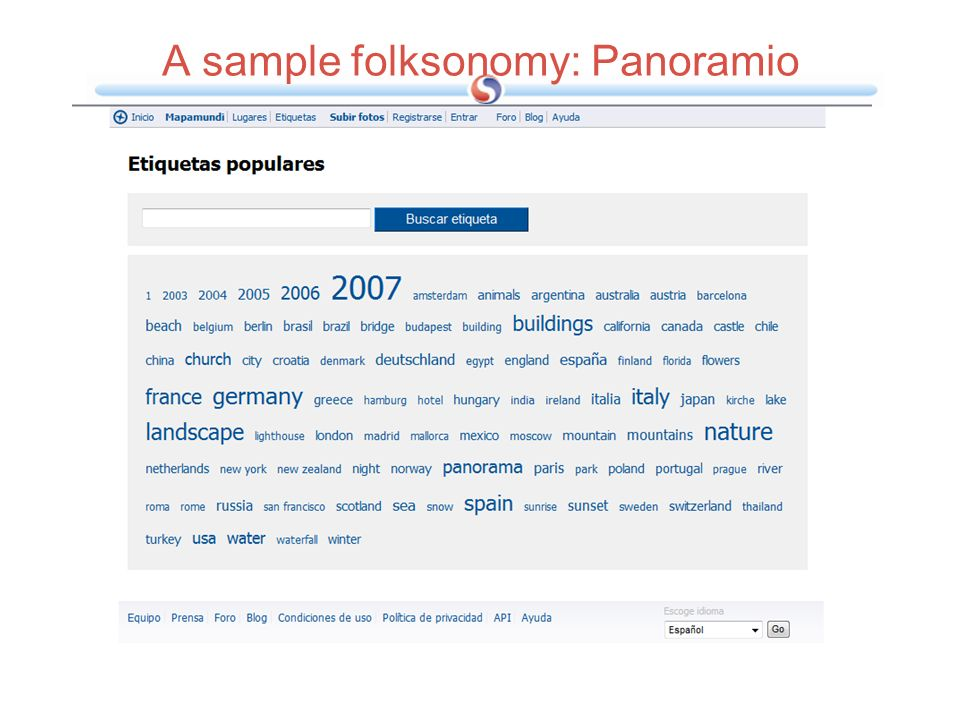 A sample folksonomy: Panoramio
