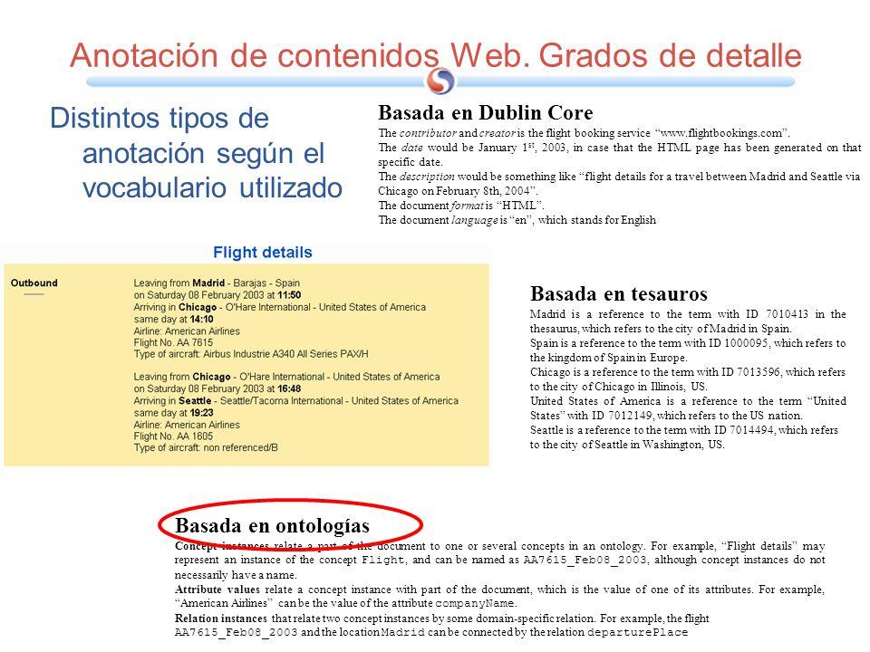 Anotación de contenidos Web. Grados de detalle
