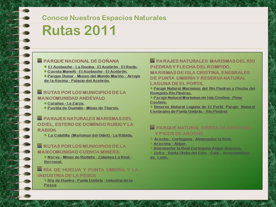 Rutas 2011 Conoce Nuestros Espacios Naturales