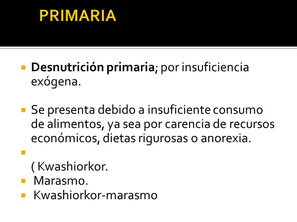 PRIMARIA Desnutrición primaria; por insuficiencia exógena.