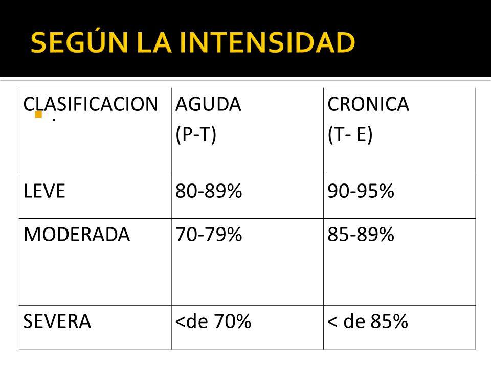 SEGÚN LA INTENSIDAD CLASIFICACION AGUDA (P-T) CRONICA (T- E) LEVE