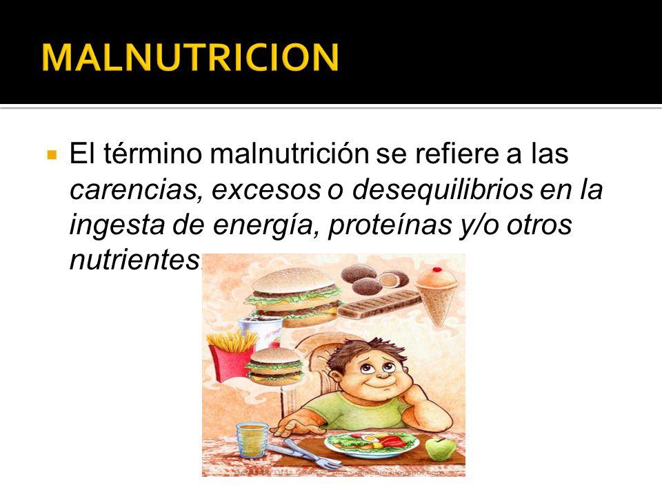 MALNUTRICION El término malnutrición se refiere a las carencias, excesos o desequilibrios en la ingesta de energía, proteínas y/o otros nutrientes.