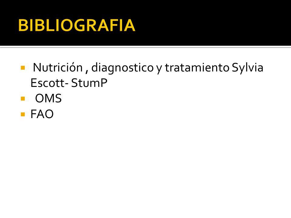 BIBLIOGRAFIA Nutrición , diagnostico y tratamiento Sylvia Escott- StumP OMS FAO