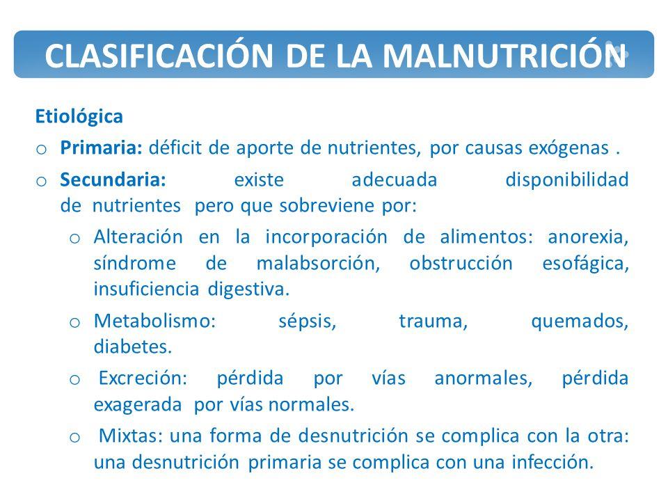CLASIFICACIÓN DE LA MALNUTRICIÓN