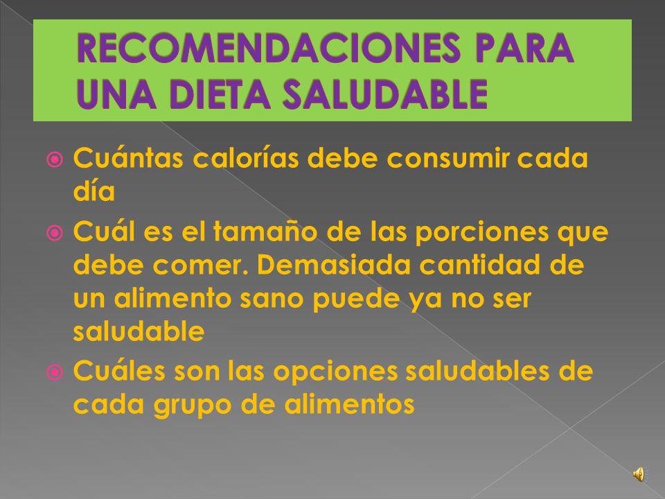 RECOMENDACIONES PARA UNA DIETA SALUDABLE
