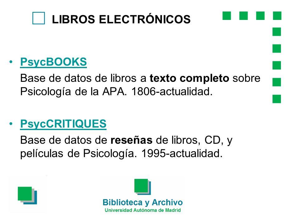 c LIBROS ELECTRÓNICOS PsycBOOKS