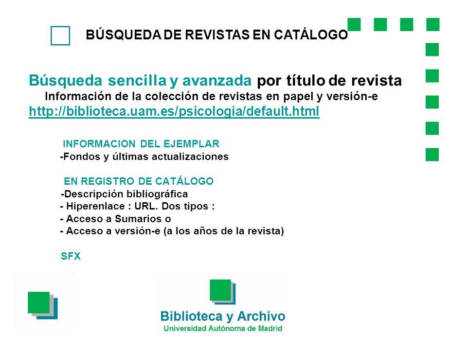 BÚSQUEDA DE REVISTAS EN CATÁLOGO