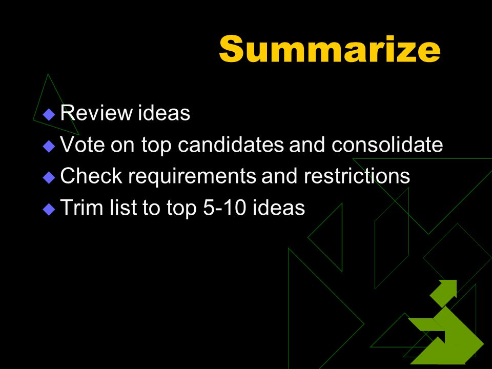 Summarize Review ideas Vote on top candidates and consolidate