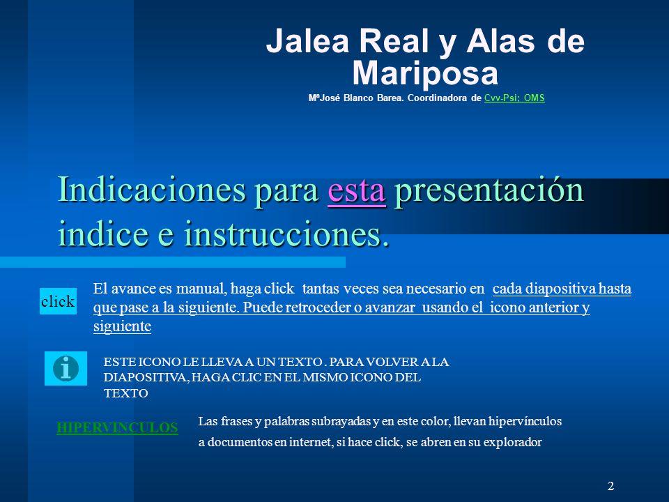 Indicaciones para esta presentación indice e instrucciones.