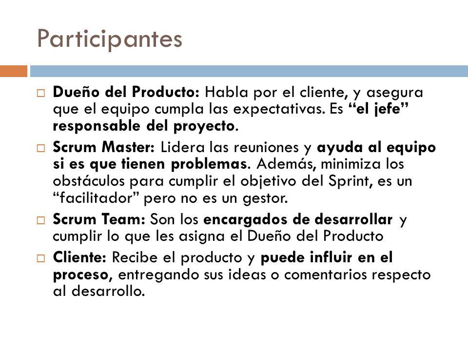 Participantes Dueño del Producto: Habla por el cliente, y asegura que el equipo cumpla las expectativas. Es el jefe responsable del proyecto.