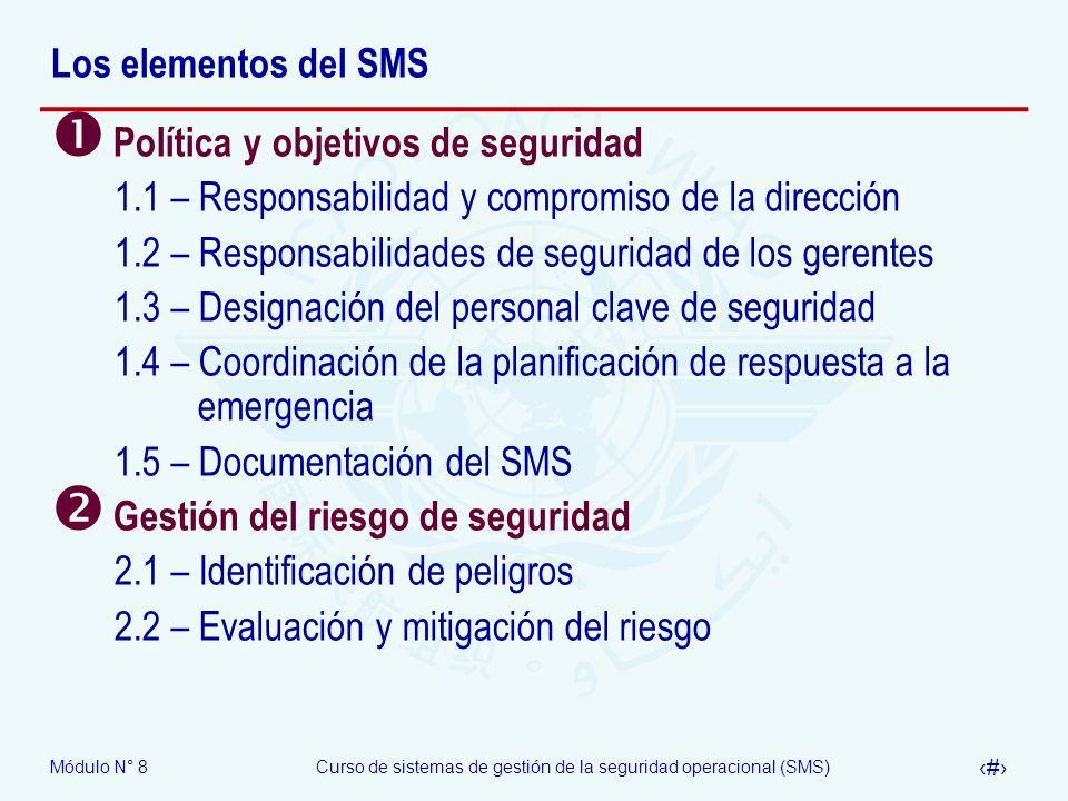 Los elementos del SMS Política y objetivos de seguridad. 1.1 – Responsabilidad y compromiso de la dirección.