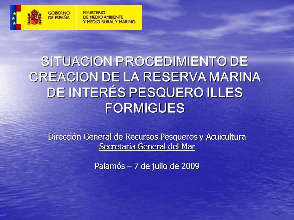 SITUACION PROCEDIMIENTO DE CREACION DE LA RESERVA MARINA DE INTERÉS PESQUERO ILLES FORMIGUES