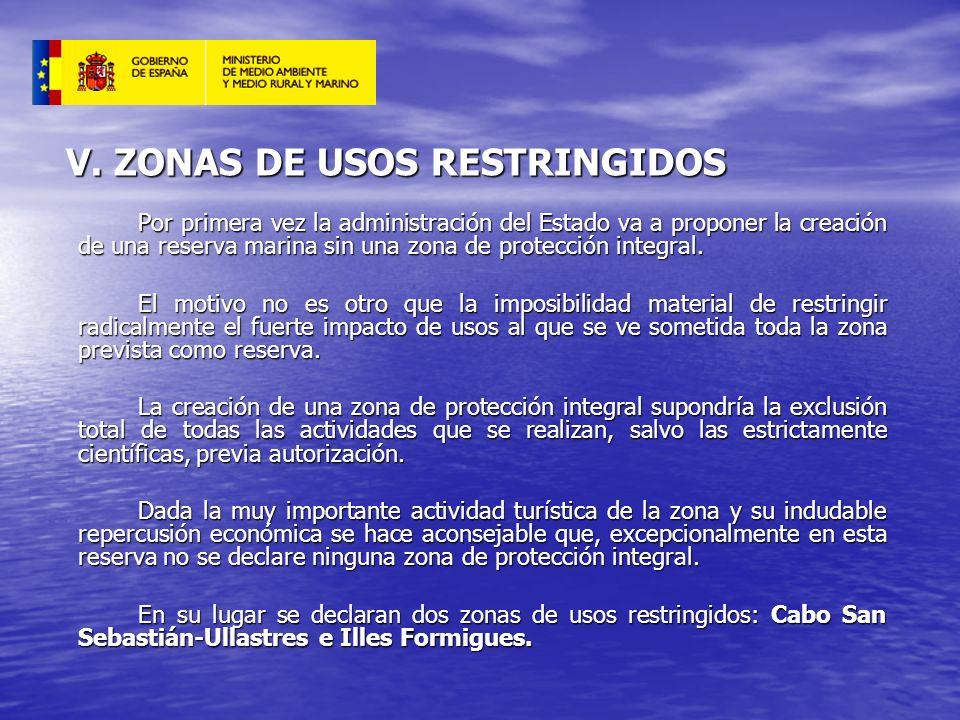 V. ZONAS DE USOS RESTRINGIDOS