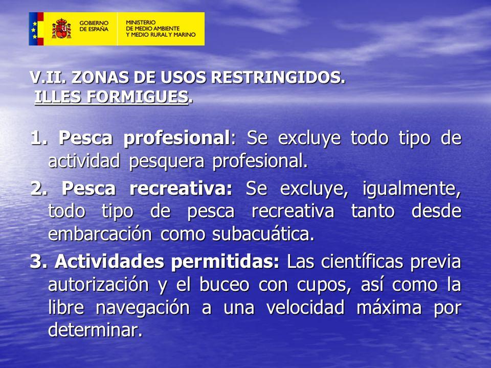 V.II. ZONAS DE USOS RESTRINGIDOS. ILLES FORMIGUES.