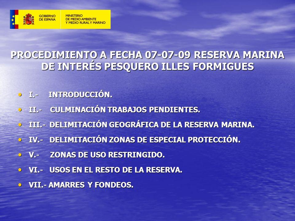 PROCEDIMIENTO A FECHA 07-07-09 RESERVA MARINA DE INTERÉS PESQUERO ILLES FORMIGUES