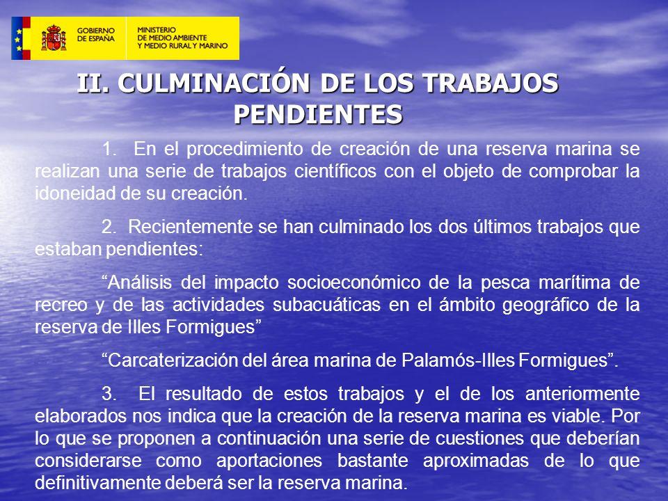 II. CULMINACIÓN DE LOS TRABAJOS PENDIENTES