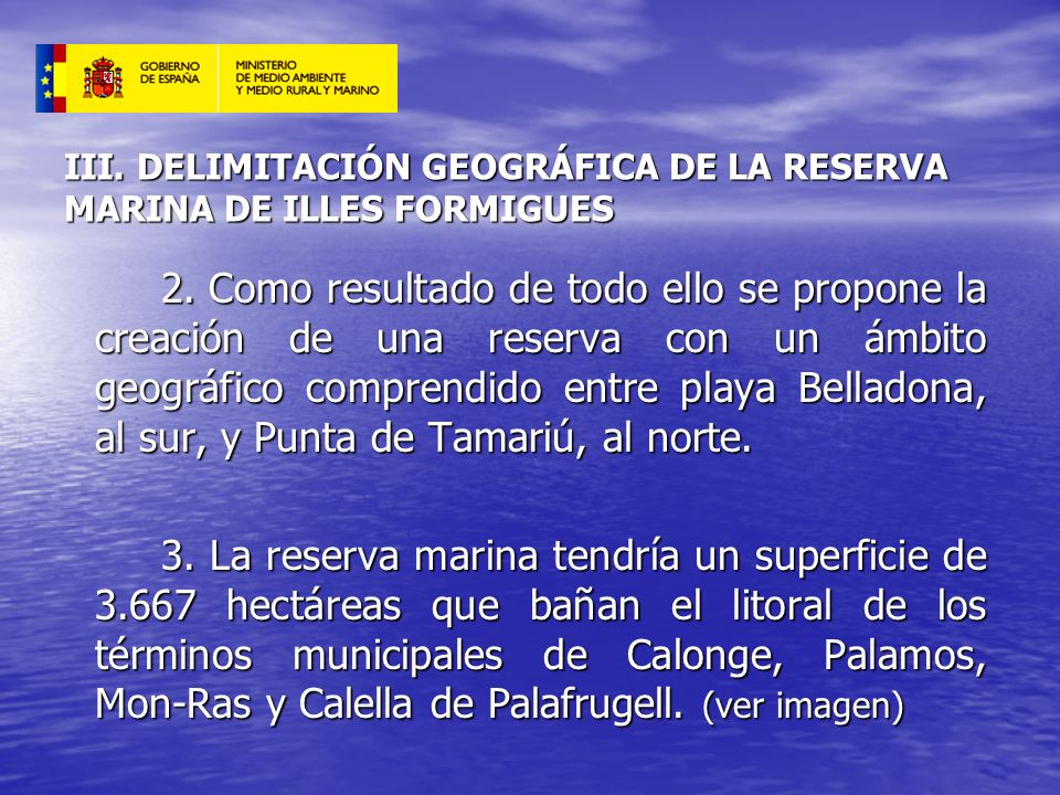 III. DELIMITACIÓN GEOGRÁFICA DE LA RESERVA MARINA DE ILLES FORMIGUES