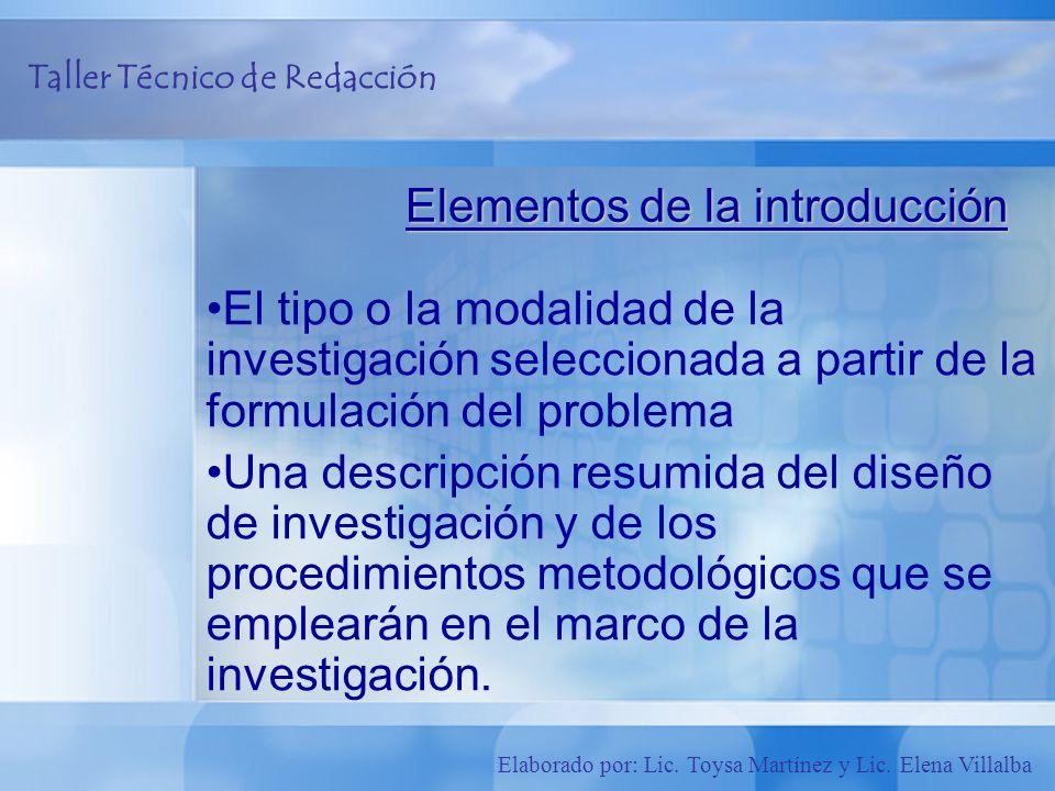 Elementos de la introducción
