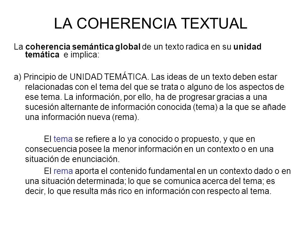 LA COHERENCIA TEXTUAL La coherencia semántica global de un texto radica en su unidad temática e implica: