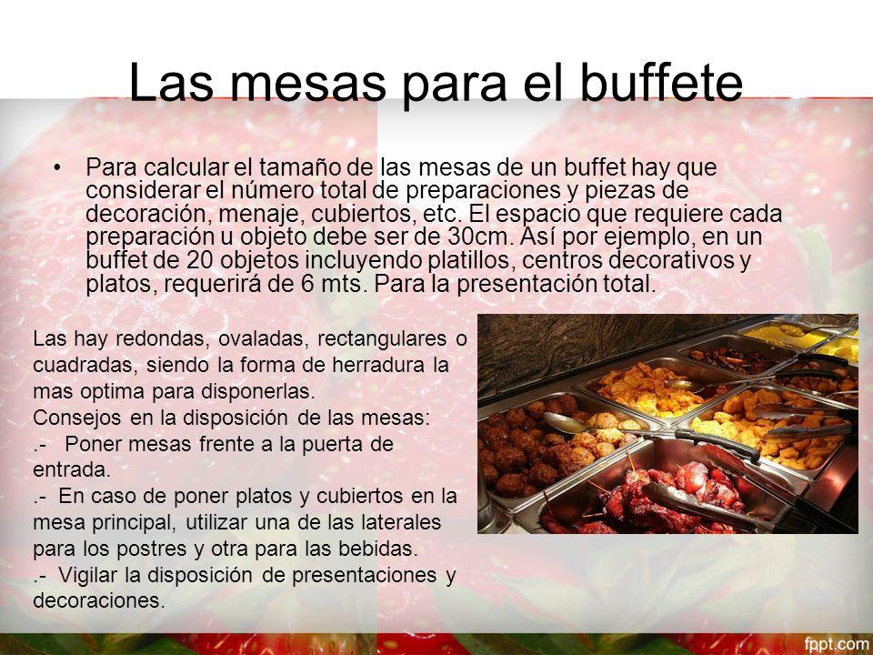 Las mesas para el buffete