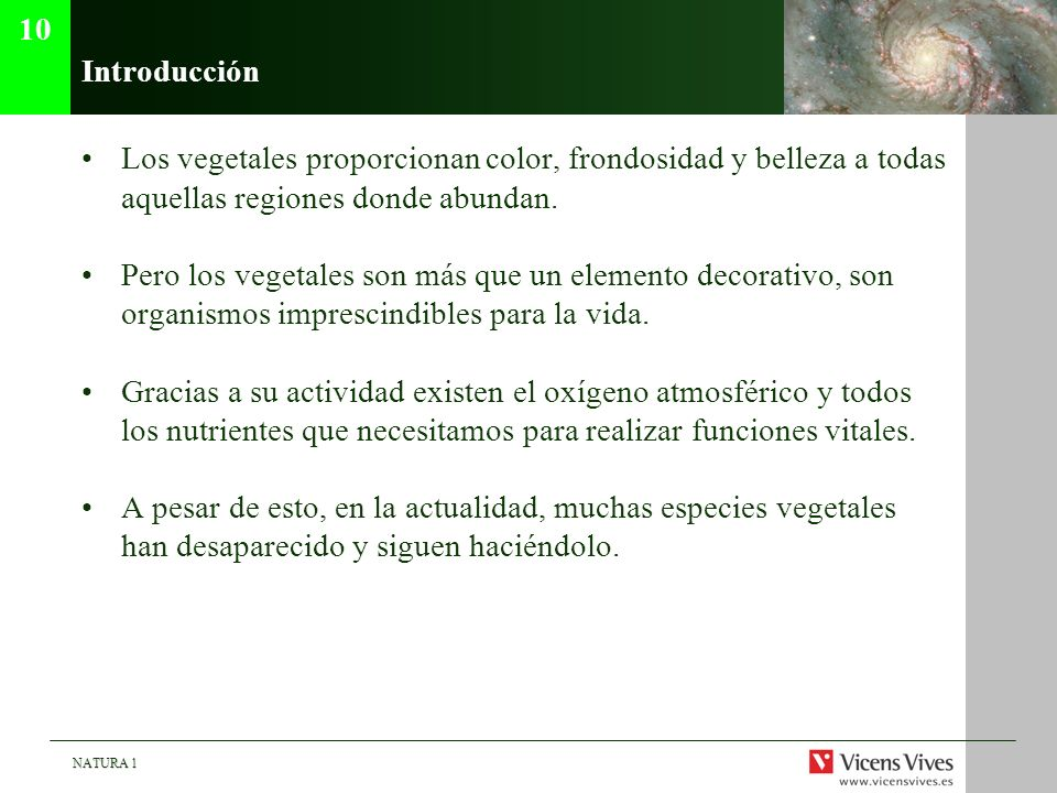 10Introducción. Los vegetales proporcionan color, frondosidad y belleza a todas aquellas regiones donde abundan.