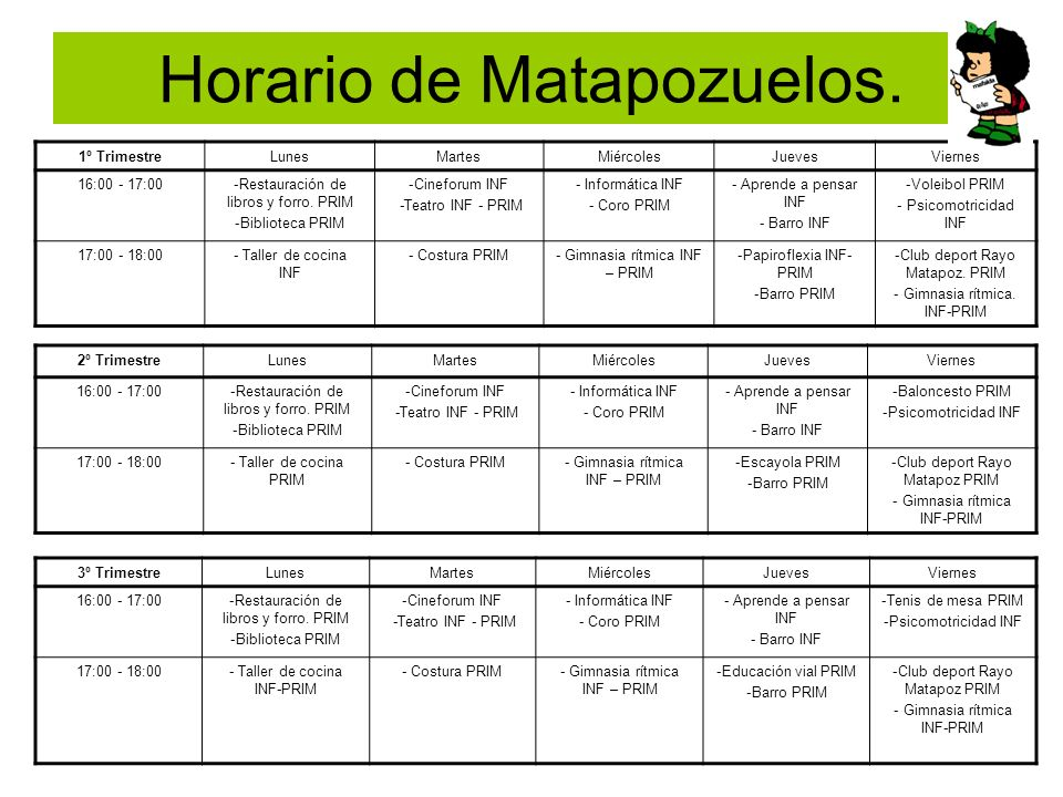 Horario de Matapozuelos.
