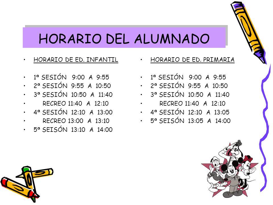 HORARIO DEL ALUMNADO HORARIO DE ED. INFANTIL 1ª SESIÓN 9:00 A 9:55
