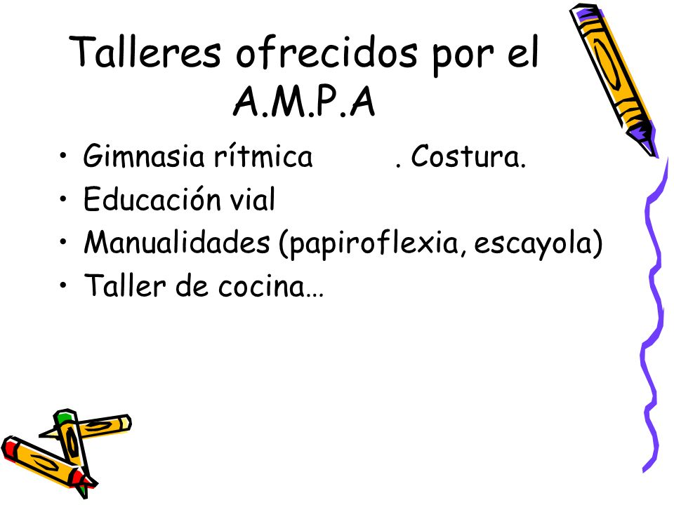 Talleres ofrecidos por el A.M.P.A