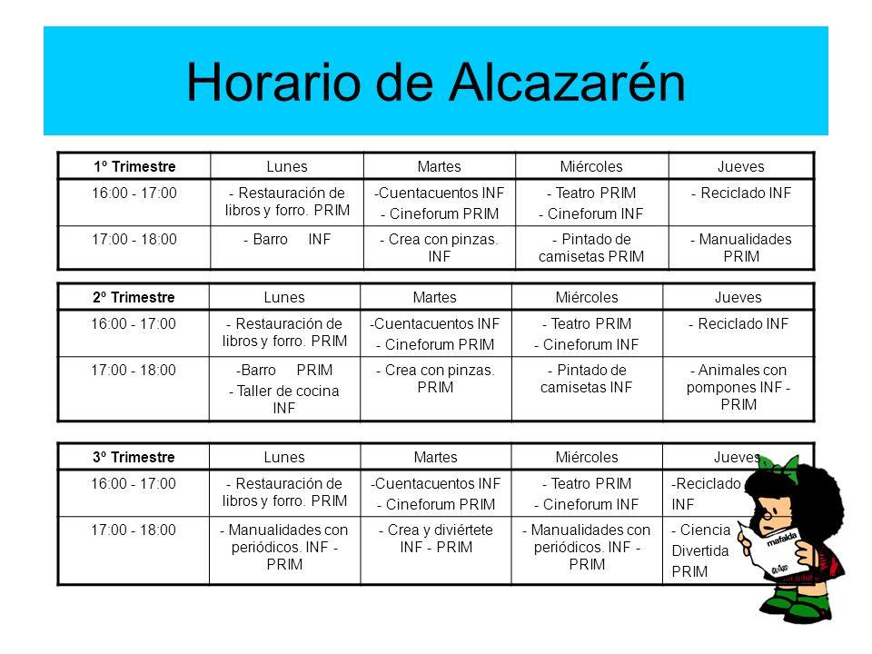Horario de Alcazarén 1º Trimestre Lunes Martes Miércoles Jueves