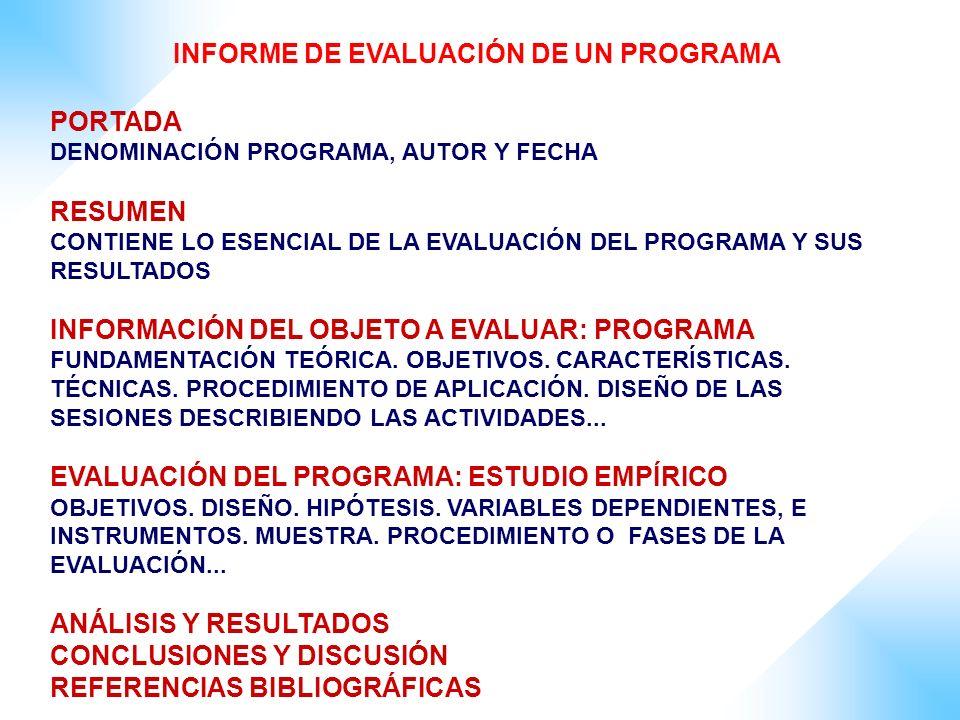INFORME DE EVALUACIÓN DE UN PROGRAMA