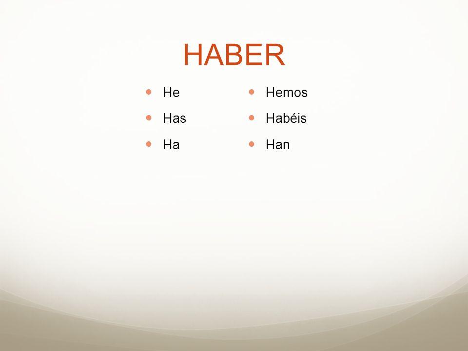 HABER He Has Ha Hemos Habéis Han