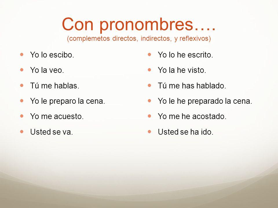Con pronombres…. (complemetos directos, indirectos, y reflexivos)