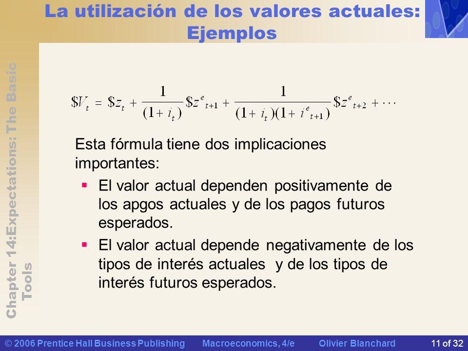 La utilización de los valores actuales: Ejemplos
