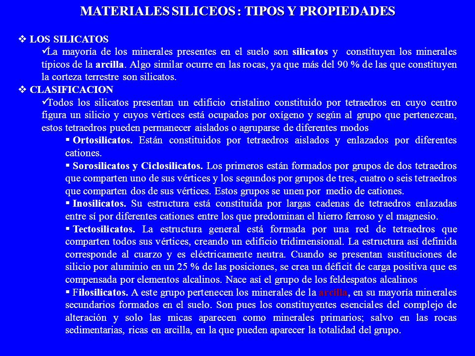 MATERIALES SILICEOS : TIPOS Y PROPIEDADES